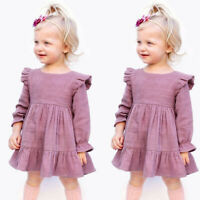 Toddler Kids Baby Girls Frill Solid Princess Dress + Headband Outfits Set