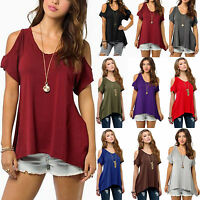 Plus Size Women Cold Shoulder T-Shirt Top Short Sleeve Baggy Loose Casual Blouse