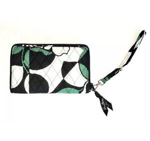 Vera Bradley RFID Grab & Go Wristlet Imperial Rose Green Black & White NEW