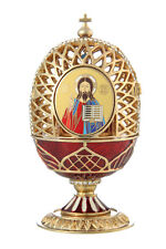 Faberge Carved Egg Church of Savior on Blood / Jesus Christ 4.5'' (11.5cm) red