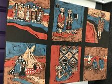 BATIK- SOUTHWESTERN-NATIVE WOMEN OF TRIBE DOING CHORES-EXTRA LARGE-OUTSTANDING