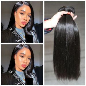 Straight 3 Bundles Brazilian Human Hair Weave Extensions Weave Weft 150g 16''