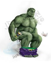 INCREDIBLE HULK On the Toilet Pooping Angry Smash Print Picture Poster Picture