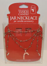 NEW YANKEE CANDLE CANDY CANE CANDLE NECKLACE JEWELRY BEADED HOLDER RED HOLIDAY
