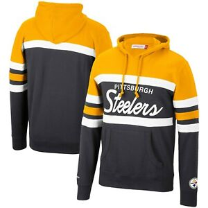 Pittsburgh Steelers Mitchell & Ness COACHES THROWBACK Pullover Hoodie- Black