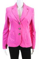 Lilly Pulitzer Womens Cotton Notched Collar Three Button Blazer Pink Size 2