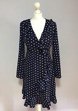 BNWT QUIZ Navy Spotty Wrap Dress UK 10 Ruffle Long Sleeved
