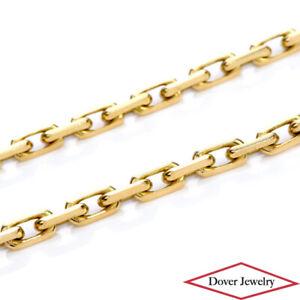 """Estate 18K Gold Elegant 17.75"""" Long Chain Link Necklace 29.8 Grams 5mm NR"""