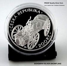 200 Korun JOSEF BOZEK and First Steam Car - 2015 Czech PROOF Silver Coin