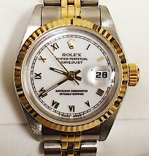 LADIES ROLEX 18 KARAT YELLOW GOLD & STAINLESS OYSTER PERPETUAL DATEJUST WATCH