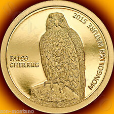 2015 Mongolian Nature Series FALCON Falco cherrug 1/2 gram PURE GOLD COIN .9999