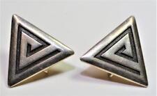 Marked STERLING Silver TRIANGLE Shape Screw Earrings 6.21g