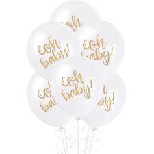 OH BABY WHITE HELIUM QUALITY LATEX BALLOONS GOLD WITH TEXT PCK OF 8 BABY SHOWER