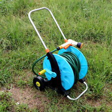 Water Hose Pipe Reel Trolley + Gun Garden Lawn Watering Car Washing Coiler Tool