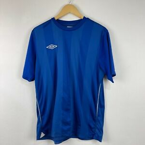 Umbro Mens T-Shirt Large Blue Striped Short Sleeve Round Neck