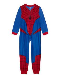 Marvel Spider Man Union Suit One Piece Pajamas 4 6 7 8 10 12 Boy Blanket Sleeper