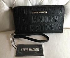 Steve Madden Wallet Black Stamped Logo Silver Zipper and nameplate Organizer