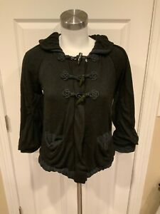 Marc by Marc Jacobs Black Zip Up Cardigan Sweater w/ Horn Closures, Size XS