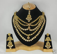 Gold Plated Designer 5 Steps A.D Style ZerconicNecklace Set Earring Tika Jewelry