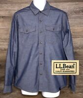 L.L. Bean Men's Blue Denim Long Sleeve Button Front Shirt w Four Pockets Medium