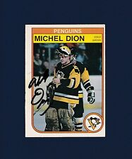 Michel Dion signed Pittsburgh Penquins 1982 Opee Chee hockey card