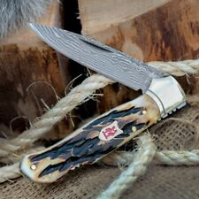 "Kissing Crane Burnt Bone Damascus Lockback Fancy Pocket Knife KC5207 6 1/3"" Open"