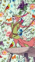 Robin Hood Fox and Flowers Collage 6x10 Quilters and Craft Fabric Block