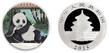 China 10 Yuan, 1 oz. Silver Proof Coin (BU), 2015, Mint, Panda Color (Colored)