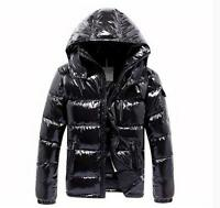 Fashion Mens Hooded Duck Down Jacket Shiny Outwear Coat Thick Zip Winter Parka W