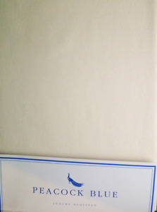 CREAM DOUBLE  SIZE FLAT SHEET 180 THREAD  EASYCARE POLY COTTON BY PEACOCK BLUE