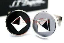 S.T.Dupont Rondelle Cufflinks Stainless Steel/Onyx New