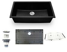 "33"" Undermount Black Granite Composite Single Bowl Kitchen Sink Drop-in New"