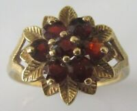 Vintage 9ct yelow gold multi garnet round flower cluster ring size M 1/2