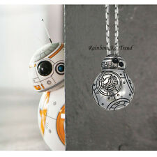 STAR WARS VII The Force Awakens BB8 Pendant Charm Necklace Silver Link Chain