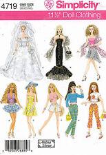"Simplicity Fashion  Doll Clothes Pattern 4719  11.5"" UNCUT"