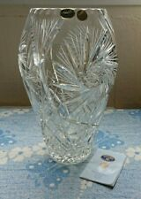 More details for bohemia czech 24% lead crystal cut hand made large tall vase floral stars design