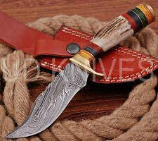 8 INCH UD CUSTOM DAMASCUS STEEL HUNTER KNIFE Stag/ANTLER  HANDLE B4-11530