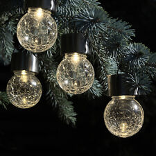 8 Pk. Warm White & Color Changing LED Crackle Glass Hanging Lights by SOLAscape