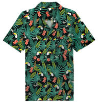 Men's Hawaiian Shirt Tropical Vintage Toucan Pattern Blouse Summer Beach Shirt