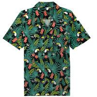 Men's Hawaiian Shirt Tropical Vintage Toucan BBQ Blouse Summer Beach Shirt