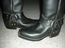 TONY MORA BLACK LEATHER COWBOY BIKER BOOTS 3.5
