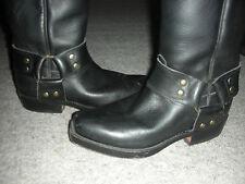 TONY MORA Nera in Pelle Cowboy Biker Boots 3.5