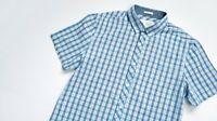 Penguin Casual shirt men Short Sleeve top size M Medium Slim blue / red CHECKED