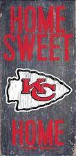 "Kansas City Chiefs Home Sweet Home Wood Sign 12"" x 6""  NFL Man Cave Wood"