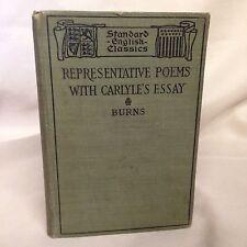 Representative Poems of Robert Burns With Carlyle's Essay 1897 Book Hanson Ginn