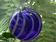 "Hanging Glass Ball 4"" Diameter Cobalt Blue with White Swirl (1) HB3"
