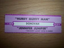 "1 Donovan Hurdy Gurdy Man Jukebox Title Strips Cd 7"" 45Rpm Records"