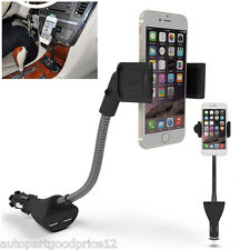 360° Adjustable Car Mount Holder Dual USB 2.1A Charger For iPhone Samsung HTC