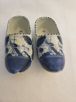 Vintage Deifts #31 Dutch Hand Painted Ceramic Shoes - Blue and White Set of 2
