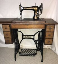 Vtg Antique Singer Sphinx 27 Treadle & Sewing Machine Table Cabinet *REFINISHED*